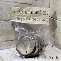 5 Dischi di quercia forati da incidere