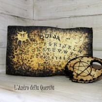 OUIJA decorata con Sole e Luna, pirografia su legno